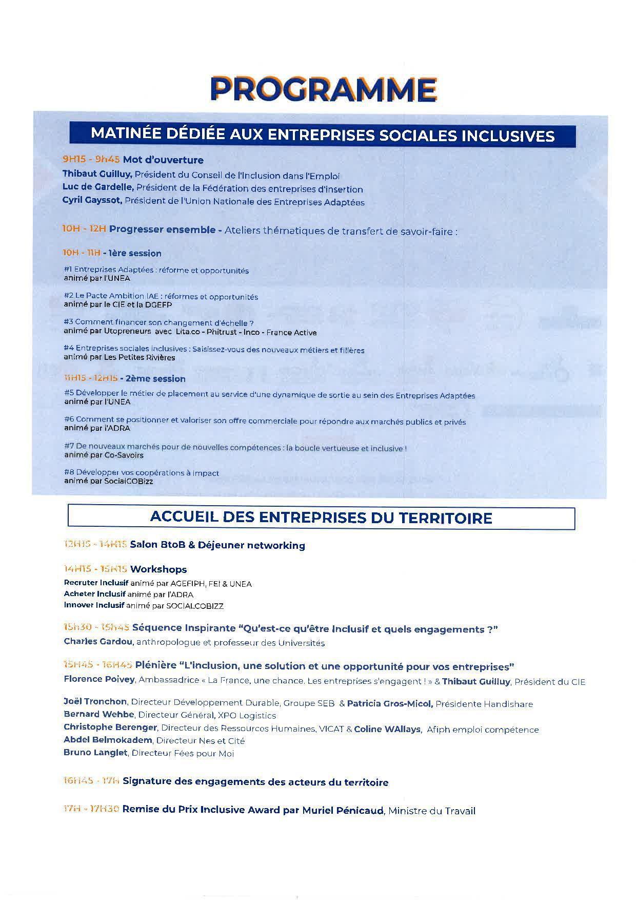 programme Inclusive Tour