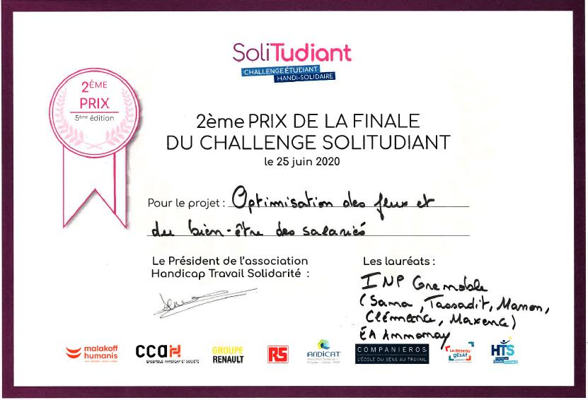 diplôme challenge SoliTudiant.2020
